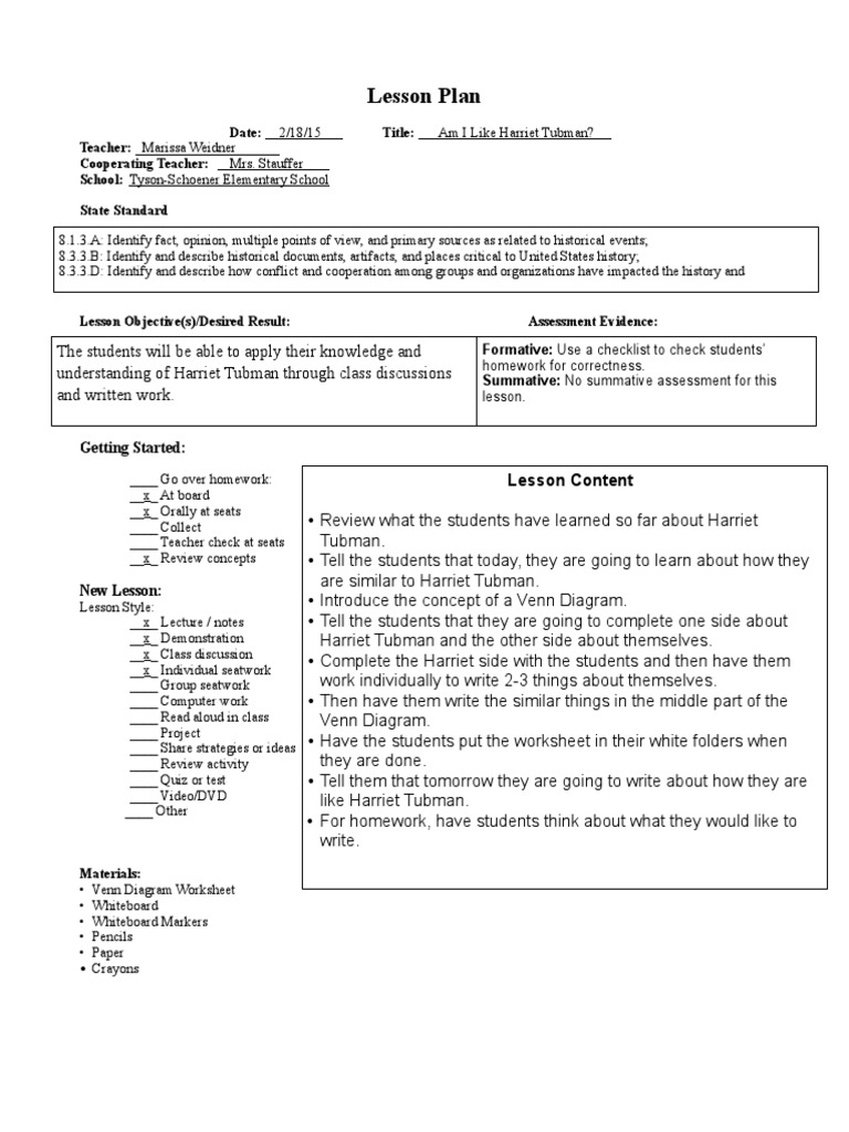 Worksheets Harriet Tubman Worksheets harriet tubman day 3 lesson educational assessment plan