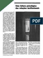 Uma leitura psicológica das relações institucionais