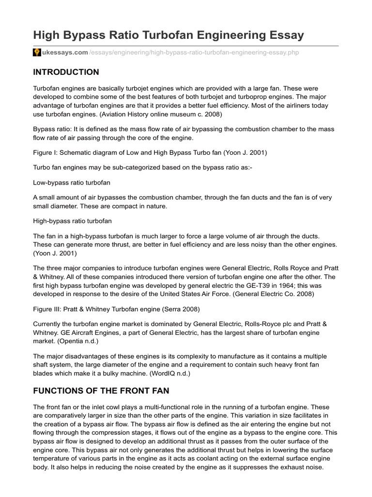 High Bypass Turbo Fan Air Engi Interframe Media Turbofan Engine Schematic Ukessayscom Ratio Engineering Essay Engines Rotating Machines