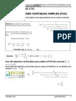 Fracciones Continuas Simples...Aritmetica