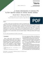 Spectrofluorimetric Kinetic Determination of Selenium (IV)