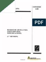 Covenin 0004-1982 Bloques de Arcilla Para Losas Nervadas