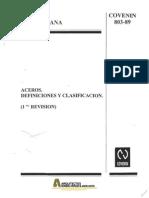 COVENIN 0803-1989 Aceros Definiciones Clasificaciones