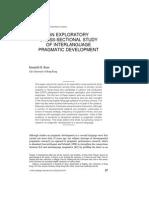 An Exploratory Cross-Sectional Study of Interlanguage Pragmatic Development