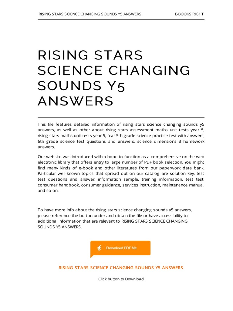 Rising Stars Science Changing Sounds y5 Answers | E Books | Computer