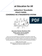 Headteachers Roundtable Education Election Manifesto Coherence in a Fragmented System Paper Final