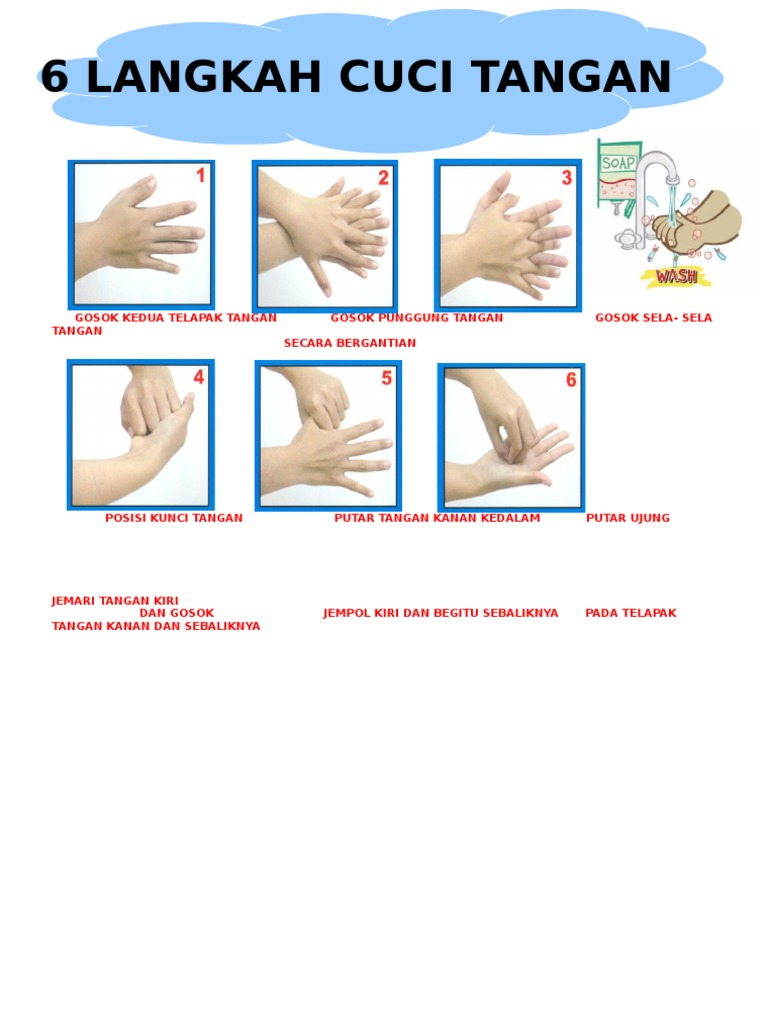 Poster 6 Langkah Cuci Tangan