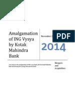 Case Study on Kotak Mahindra and ING Vysya Bank Amalgamation