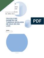 Cálculo Del Diámetro de Tuberias de Bajada de Agua de Una Loza