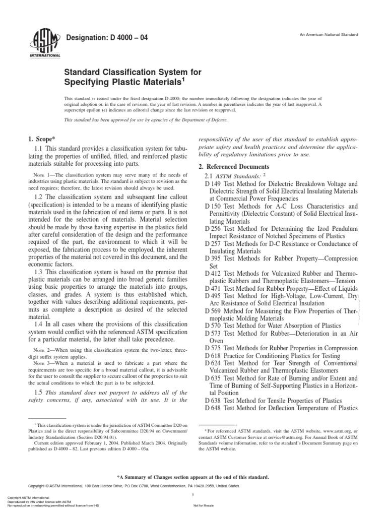Astm d4000 2004 plastic polyvinyl chloride for Astm table 52 pdf