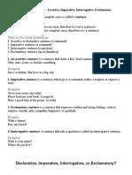 Kinds of Sentences - Assertive, Imperative, Interrogative, Exclamatory