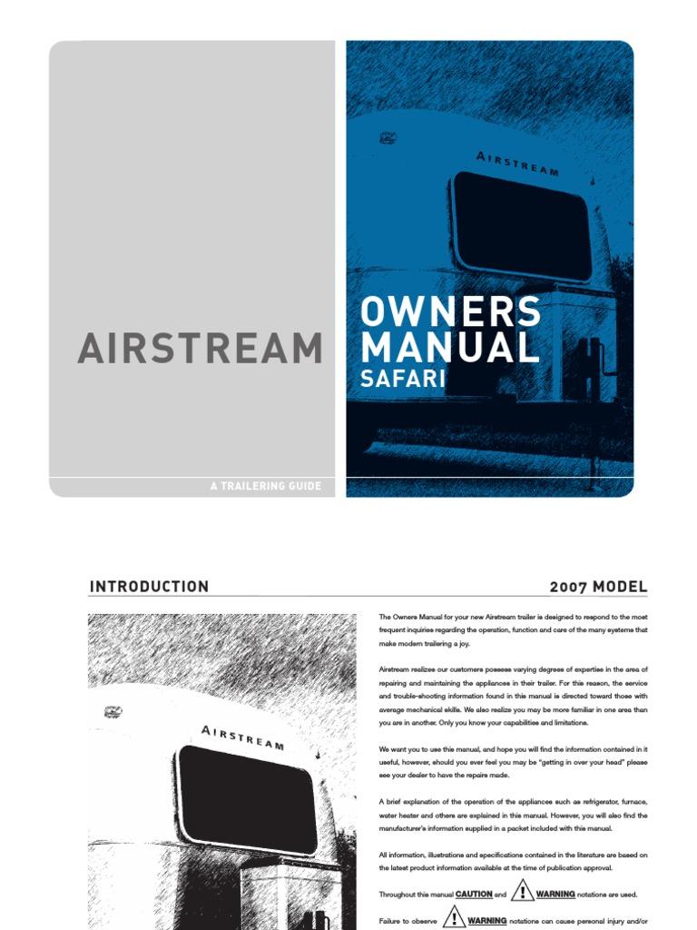 airstream user manual trailer vehicle truck rh scribd com Instruction Manual Book Manuals in PDF
