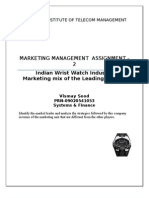 Indian Wrist Watch Industry- Marketing mix of the Leading Players