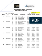 FF Weekend Schedule - 8-20-2014