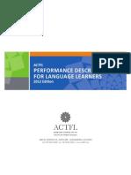 ACTFL Performance Descriptors for Language Learners