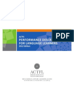 ACTFL Performance Descriptors for Language Learners