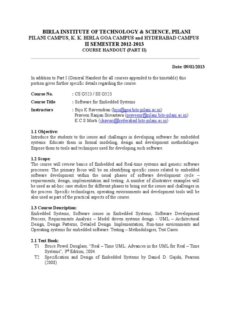 Handout Csg523 2012 2013 Iisem Embedded System Software Development