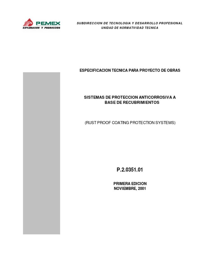 ESPECIFICACION Pemex p.2.0351.01.-Sistemas de Proteccion ...