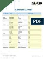 Table of Conversion Factors