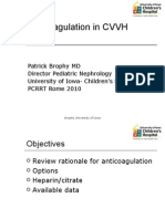 Brophy Anticoagulation CVVH