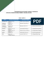 Cronograma de Evaluaciones i Período y Horario de Atención a Padres de Familia Primera y Segunda Sección