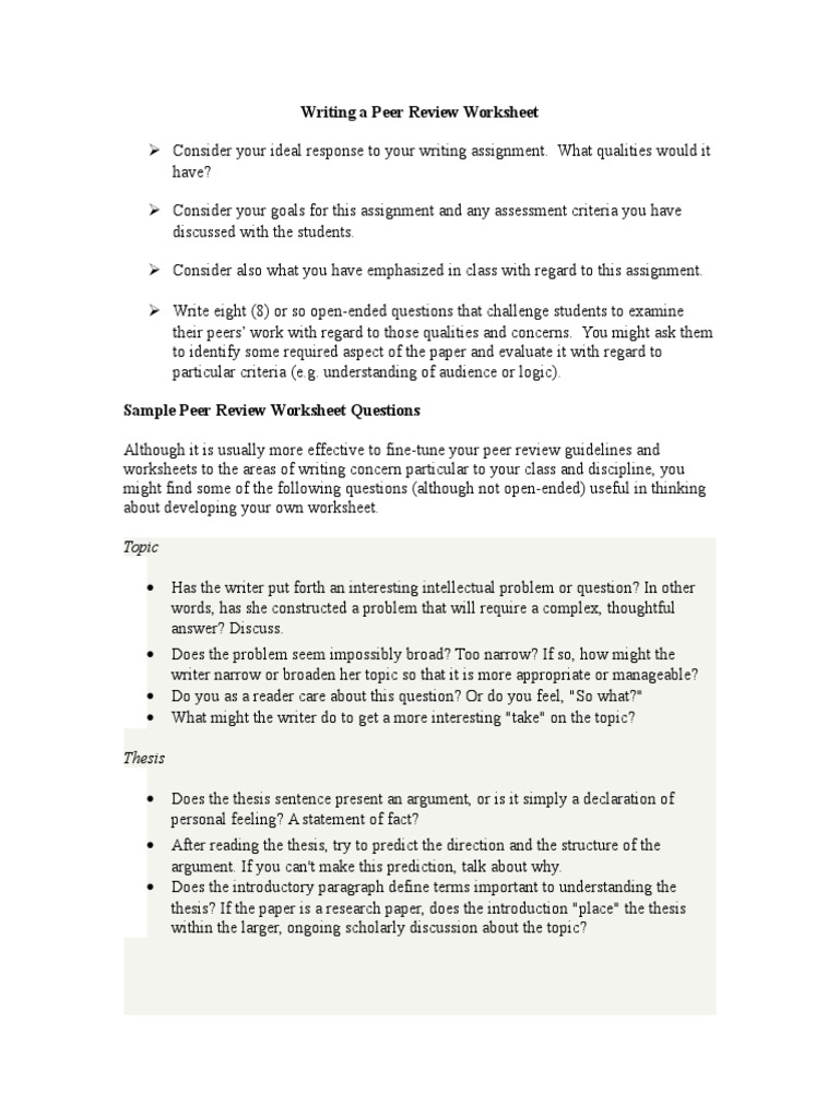 Writing Peer Review Worksheets Sentence Linguistics Argument
