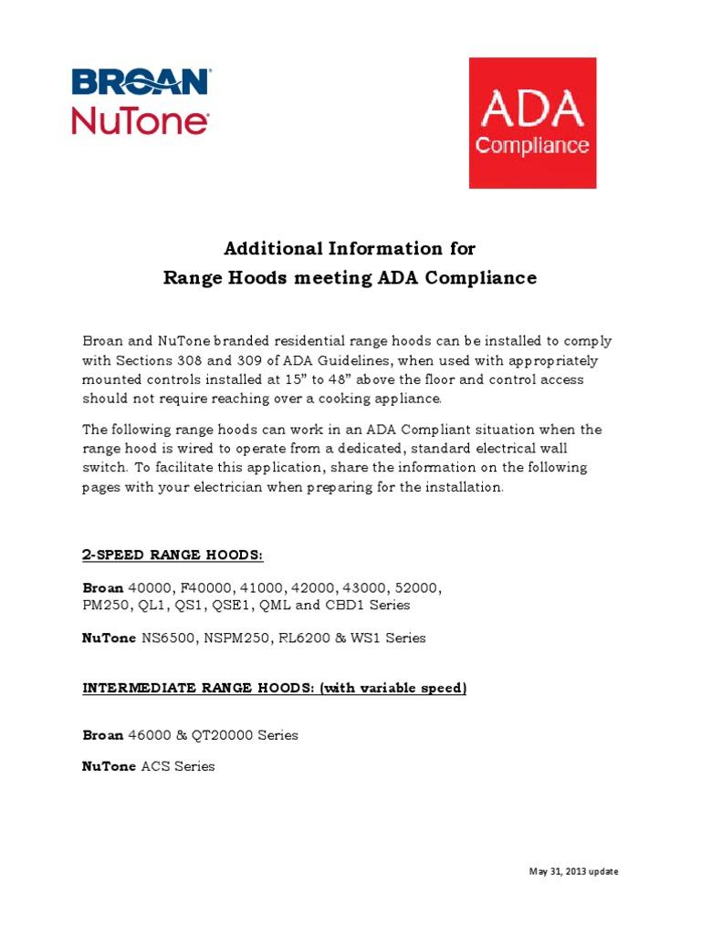Nutone Acs 30 Range Wiring Diagram Electrical Diagrams Hood Broan Hoods Additional Information Ada Compliance Hunter Ceiling Fan