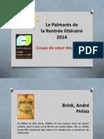 Les romans de la rentrée littéraire 2014 - le palmarès des lecteurs