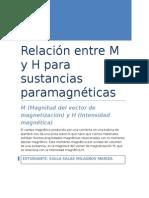 Relación Entre M y H Para Sustancias Paramagnéticas