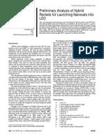 Preliminary Analysis Hybrid Rockets for Lauching Nanosats LEO