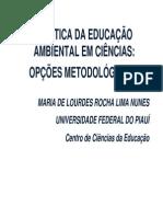 TrabalhA PRÁTICA DA EDUCAÇÃO AMBIENTAL EM CIÊNCIAS