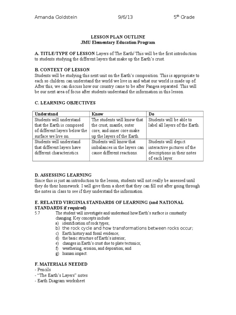 Worksheets Layers Of The Earth Worksheets layers of the earth 1 lesson plan