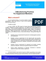 CGMP Regulations for Supplement Marketers (With CGMP Regulations)