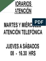 Cartel Horario Octubre 2013