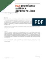 Los Origenes de La Poesia Iberica Perfil de Un Proto Yo Lirico