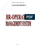 Hr Department Synopsis