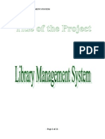 Library Management System Synopsis