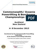 Commonwealth Oceania Championships 2013 Event Invite