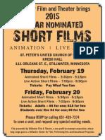 Stillwater Theatre Presents Oscar Nominated Shorts