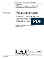 GAO Report on VALUE-ADDED TAXES Potential Lessons for the United States from Other Countries' Experiences