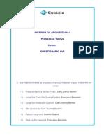 Hist. Arq.I Questionario AVII