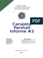 3er Informe Canaleta de Parshall Iluz