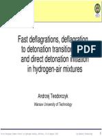 Fast Deflagrations, Deflagrationto Detonationtransition Detonationtransition(DDT) Anddirectdetonationinitiationinhydrogen-Airmixtures