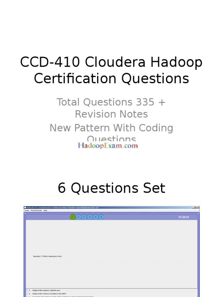 Ccd 410 Cloudera Hadoop Certification Questions 1