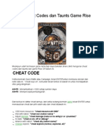 Daftar Cheat Codes Dan Taunts Game Rise of Nation