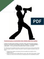 Promotion Artistes Communication Médias