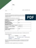 Carta de Ofertas de Productos