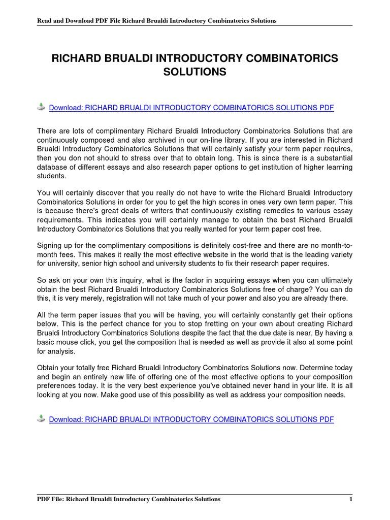Richard Brualdi Introductory Combinatorics Solutions(1) | E Books |  Portable Document Format