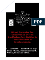 Complete Ritual Calendar For Observance Of The Luciferian Cast Deities & Classifications of Involvements
