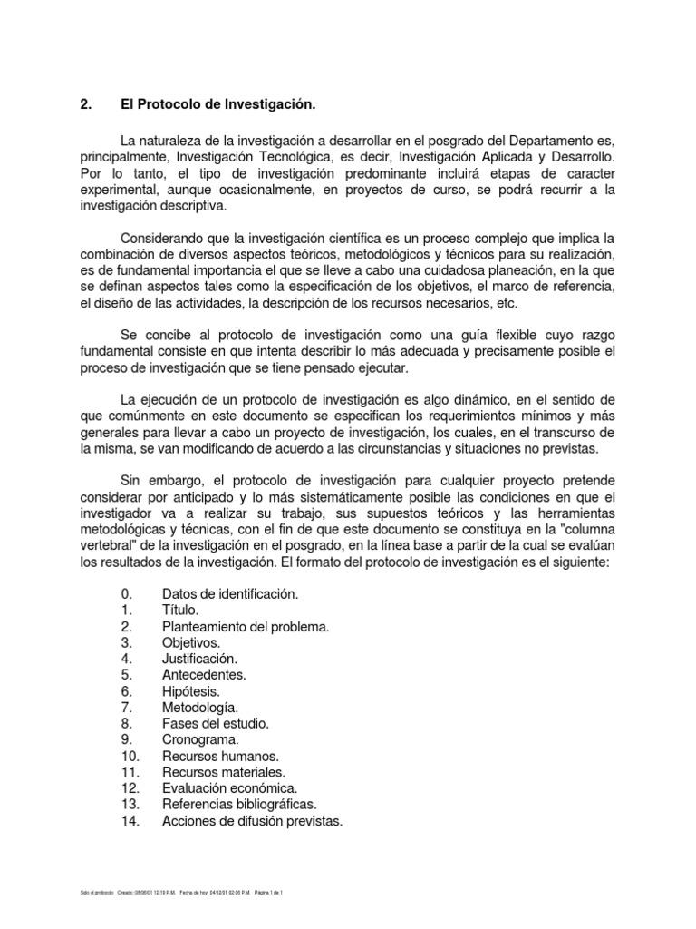 Protocolo de investigacion for Ejemplo protocolo autocontrol piscinas